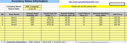 Sales and Inventory Management Spreadsheet