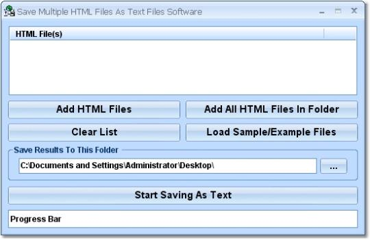 Save Multiple HTML Files As Text Files Software