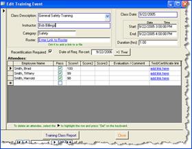 SBS Training Database