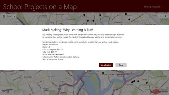School Projects on a Map for Windows 8
