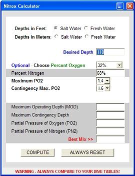 Scuba Diving Nitrox Calculator