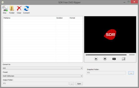 SDR Free DVD Ripper