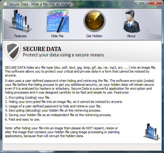 Secure Data - Hide a File into an Image