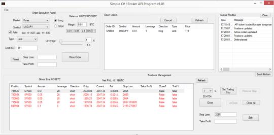 Simple C# 1Broker API Program