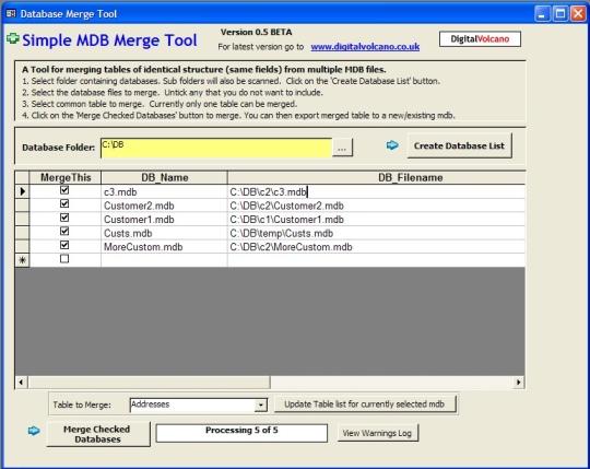 Simple MDB Merge