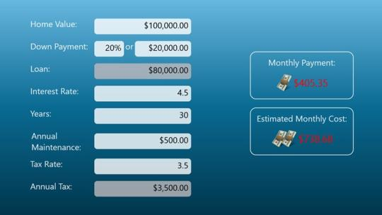 Simple Mortgage Calculator for Windows 8