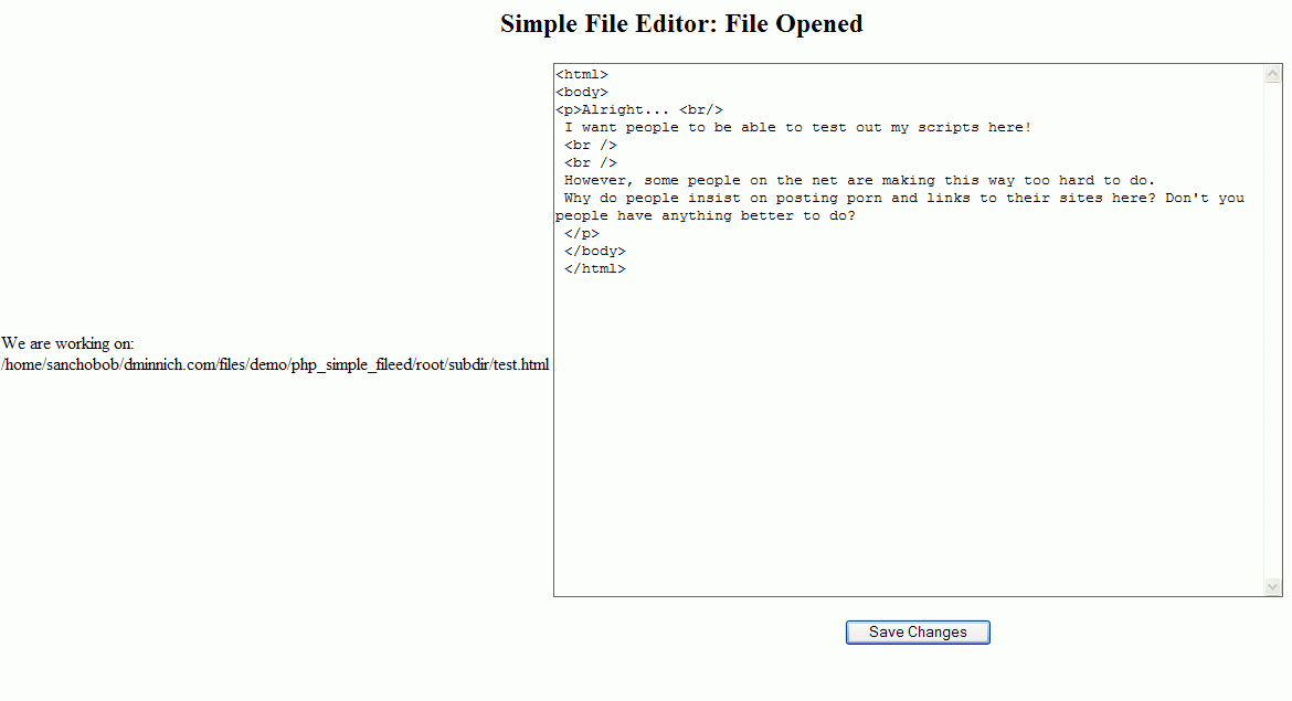 Simple PHP File Editor
