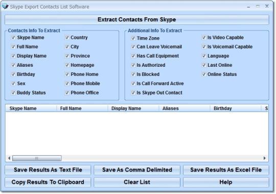 Skype Export Contacts List Software
