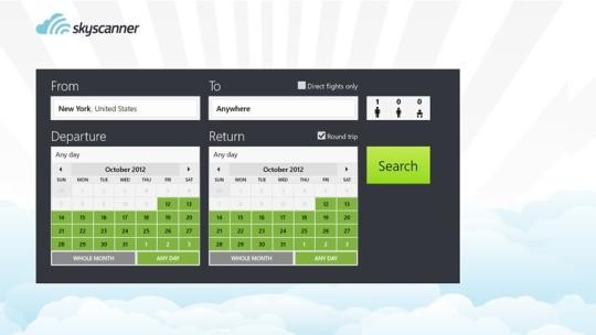 Skyscanner for Windows 8