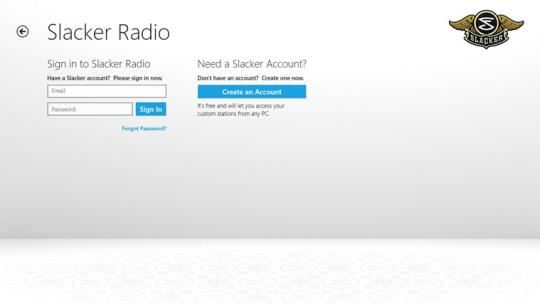 Slacker Radio for Windows 8