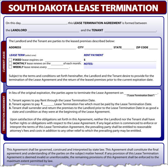 South Dakota Lease Termination