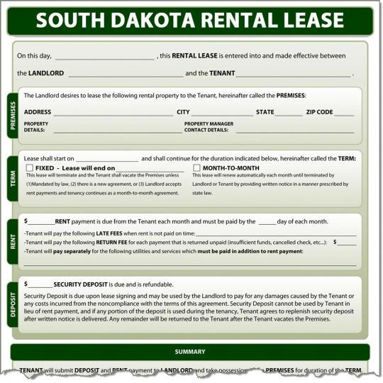 South Dakota Rental Lease