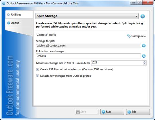 Split Outlook Storage