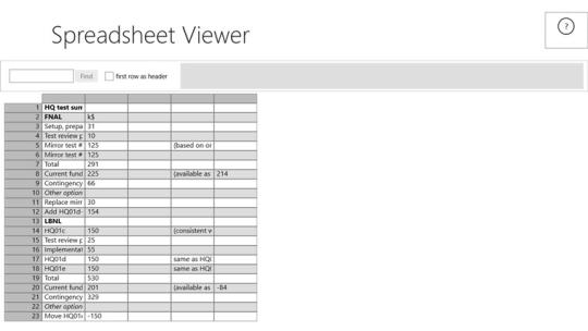 Spreadsheet Viewer for Windows 8