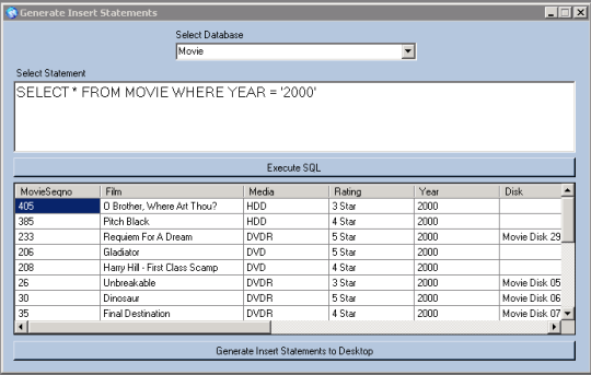 SQL Server Generate Insert Statements