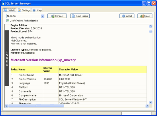 SQL Server Surveyor