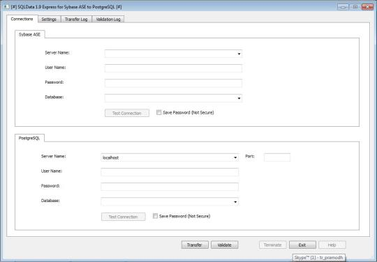 SQLData Express for Sybase ASE to PostgreSQL