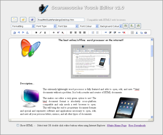 SSuite Scaramouche Touch Editor