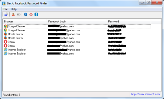SterJo Facebook Password Finder