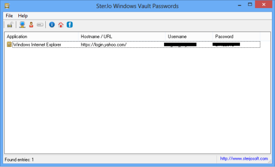SterJo Windows Vault Passwords