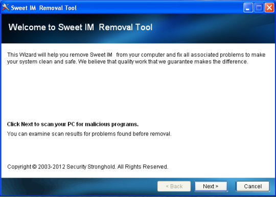 SweetIM Removal Tool
