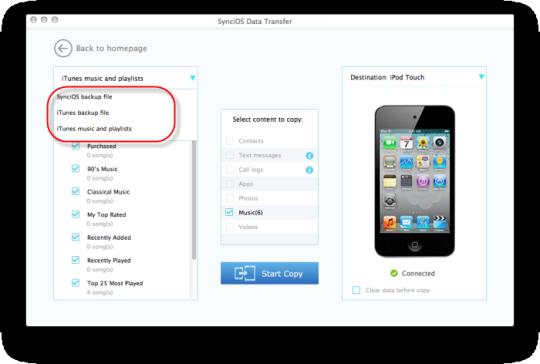 SynciOS Data Transfer for Mac