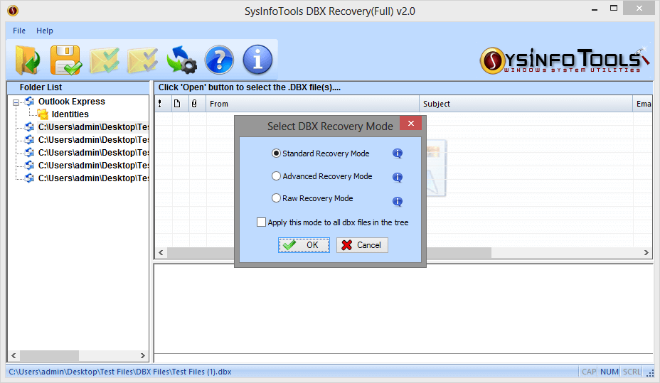 SysInfoTools DBX Recovery Tool