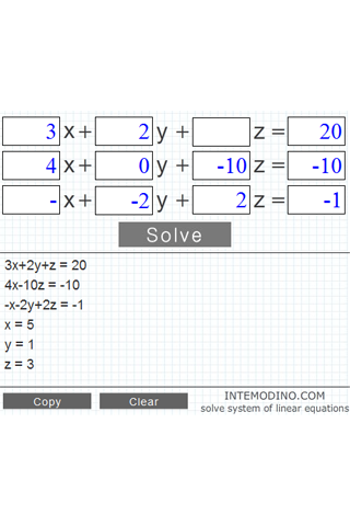 System of 3 equations calculator