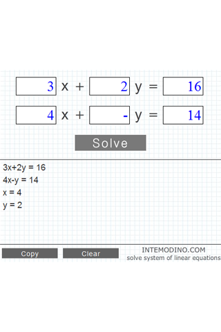 System of two equations solver