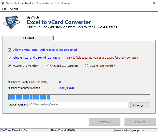 SysTools Excel to vCard Converter