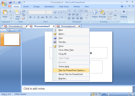 Tabs for PowerPoint