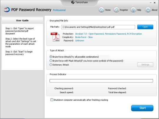 Tenorshare PDF Password Recovery Professional