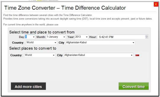 Time Zone Converter - Time Difference Calculator