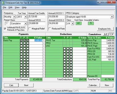 Timesaver Calc for Tax (Ireland) 2014