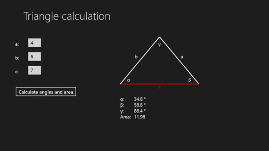 Triangle calculator for Windows 8