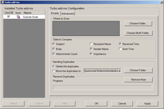 Turbo Add-in for Outlook Duplicate Email Remover