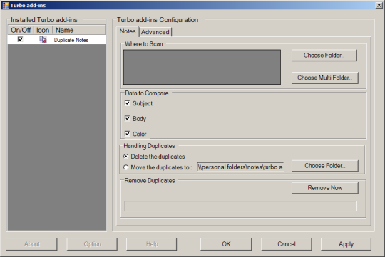 Turbo Add-in For Outlook Duplicate Note Remover