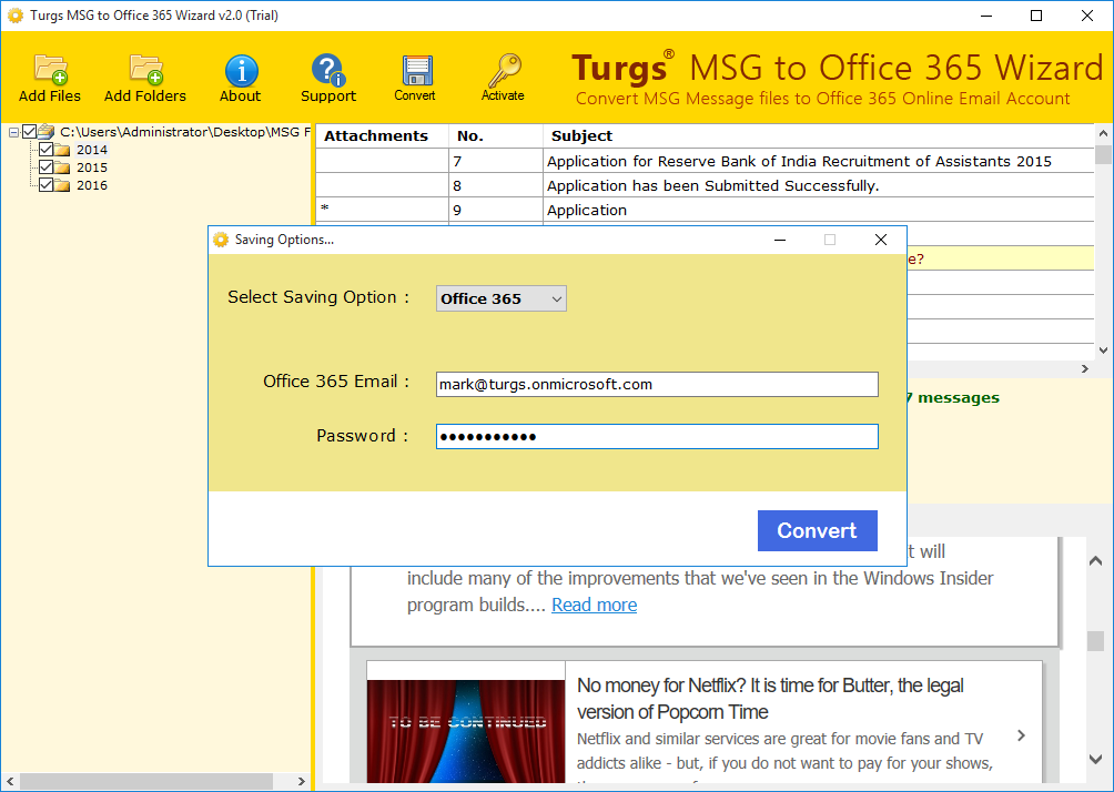 Turgs MSG to Office 365 Wizard