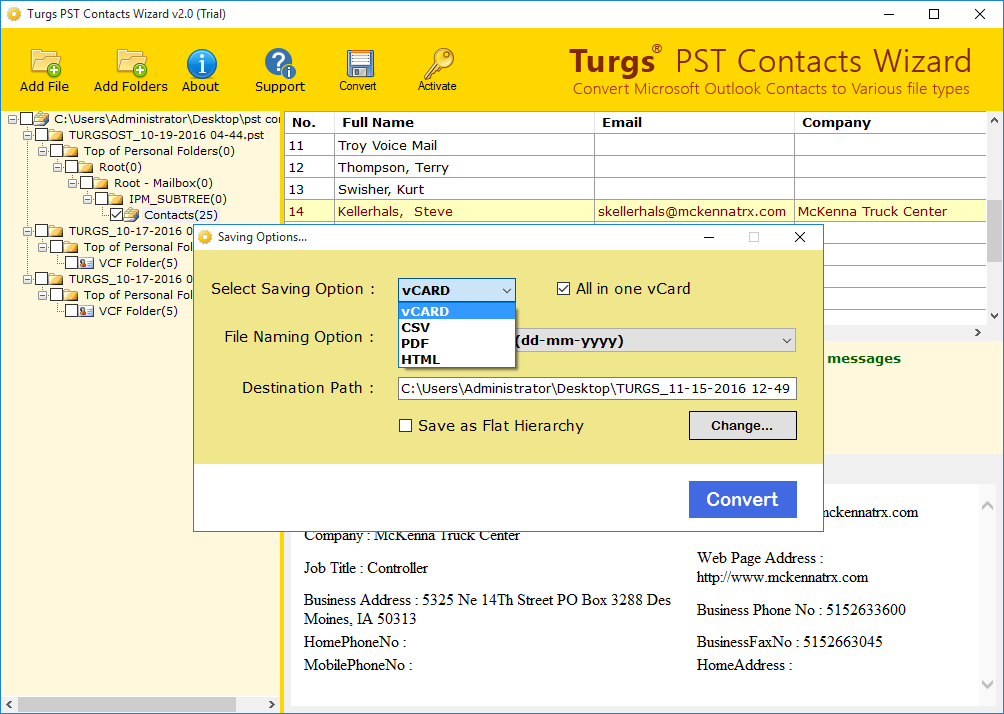 Turgs PST Contacts Wizard