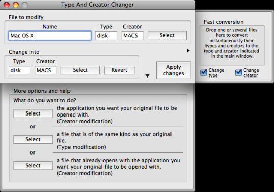 Type And Creator Changer