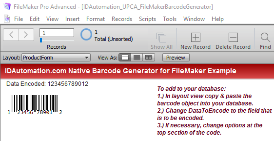 UPC EAN Native Filemaker Barcode Generator