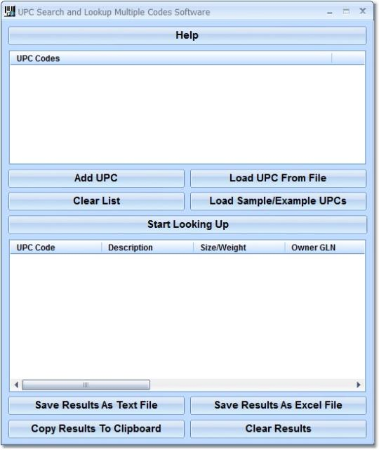 UPC Search and Lookup Multiple Codes Software