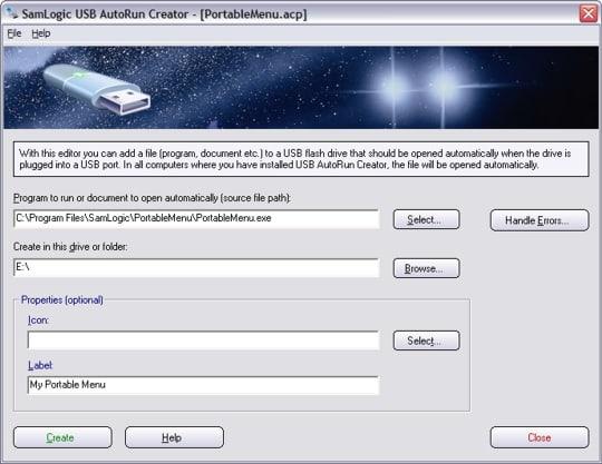 USB AutoRun Creator