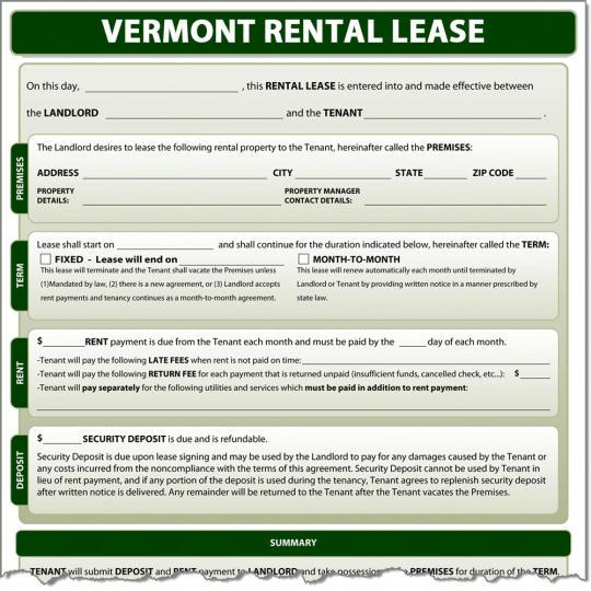 Vermont Rental Lease