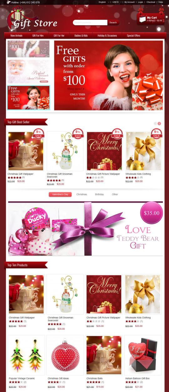 Virtuemart Gift Store Template Cmsmart