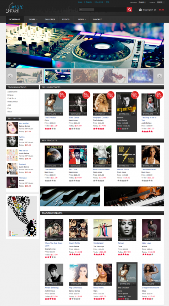 Virtuemart Music Store Template Cmsmart