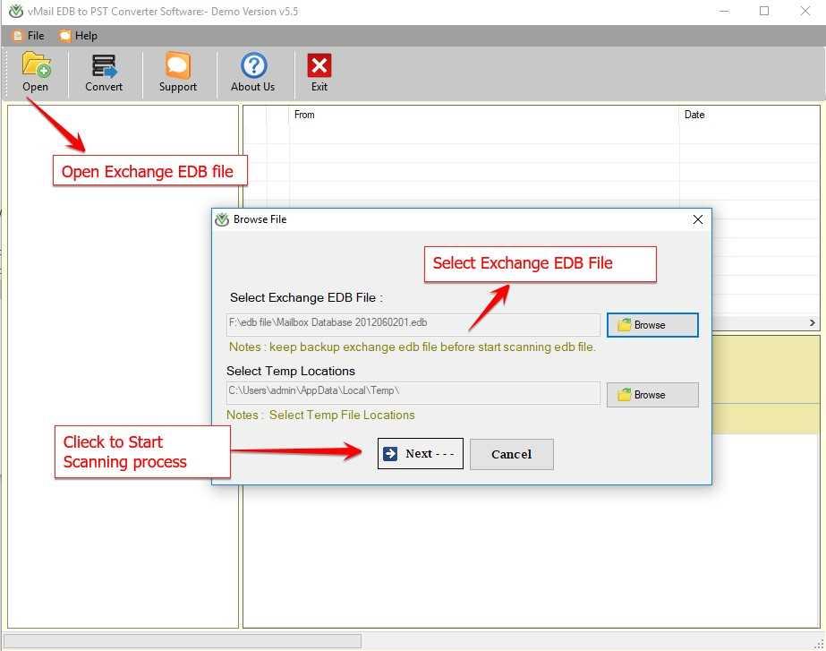 vMail EDB to PST Converter