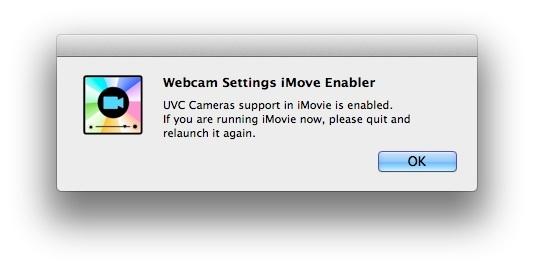 Webcam Settings iMovie Enabler
