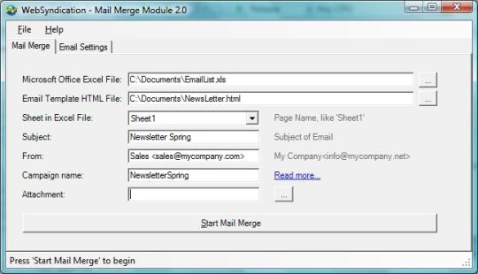 WebSyndication Mail Merge Module