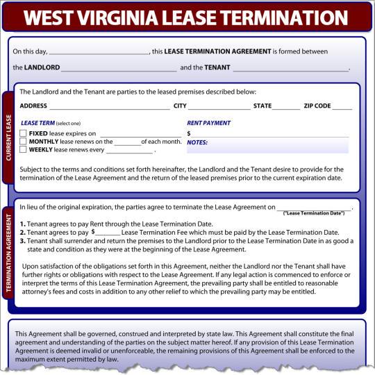 West Virginia Lease Termination